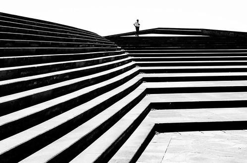 alone on a flight of stairs
