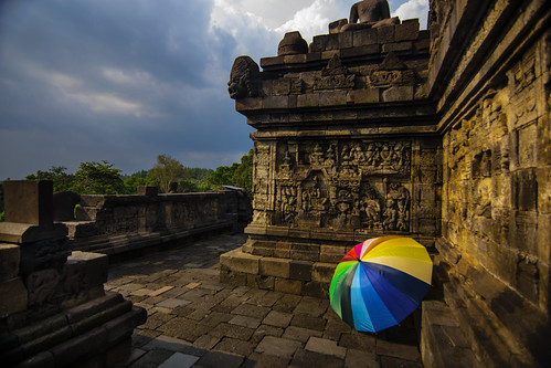 colourful view on Borobudur