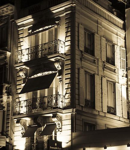Façades at night by Gregory Bastien, on Flickr