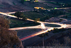 Light trails on a roundabout, from above